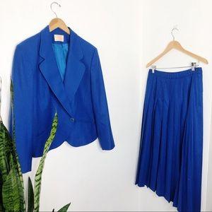 Vintage royal blue Pendleton skirt suit